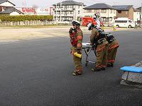小野田消防署指揮隊現場指揮本部の活動の様子